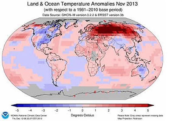 259 Ноябрь 2013 года оказался самым теплым за всю историю наблюдений